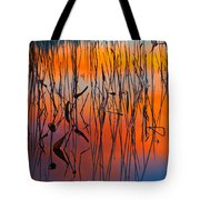 Lake Reeds And Sunset Colors Tote Bag
