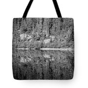Lake Reflections In Black And White Tote Bag