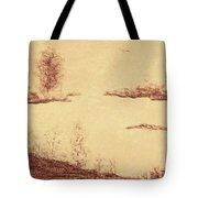Lake Scene On Parchment Tote Bag