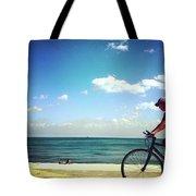 Lake Shore Bike, Blue Sky Water Horizon, Chicago Tote Bag