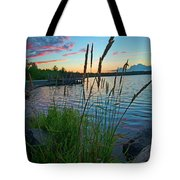 Lake Sunset And Sedge Grass Silhouettes, Pocono Mountains Tote Bag