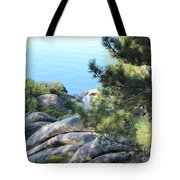 Lake Tahoe And Boulders Tote Bag