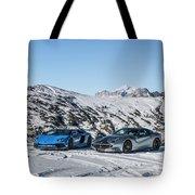 Lamborghini Aventador Sv And Ferrari F12 Tdf Tote Bag