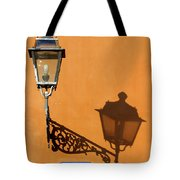 Lamp, Shadow And Burnt Umber Wall, Orvieto, Italy Tote Bag