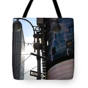 Lampost And Lightning Tote Bag
