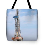 Land Oil Drilling Rig With Equipment On Oilfield Tote Bag