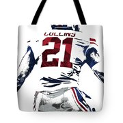 Landon Collins New York Giants Pixel Art 1 Tote Bag
