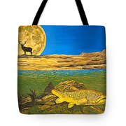 Landscape Art Fish Art Brown Trout Timing Bull Elk Full Moon Nature Contemporary Modern Decor Tote Bag