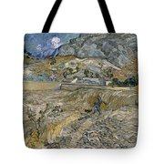 Landscape At Saint Remy Enclosed Field With Peasant Tote Bag