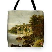 Landscape By A Riverside Town Tote Bag