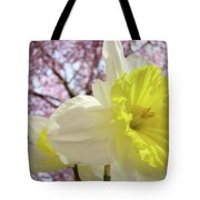 Landscape Daffodils Flowers Art Pink Tree Blossoms Spring Baslee Tote Bag