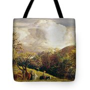 Landscape Figures And Cattle Tote Bag