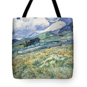 Landscape From Saint Remy At Wheat Fields  Van Gogh Series   By Vincent Van Gogh Tote Bag