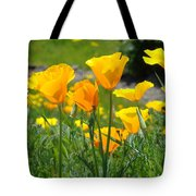 Landscape Poppy Flowers 5 Orange Poppies Hillside Meadow Art Tote Bag