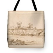 Landscape River With Bathers Tote Bag