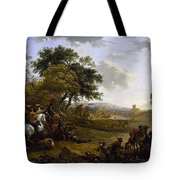 Landscape With A Hunting Party Nicolaes Claes Pietersz Berchem Tote Bag