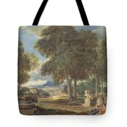 Landscape With A Man Washing His Feet At A Fountain Tote Bag