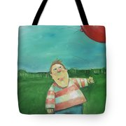 Landscape With Boy And Red Balloon Tote Bag