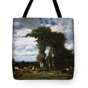 Landscape With Cattle At Limousin Tote Bag