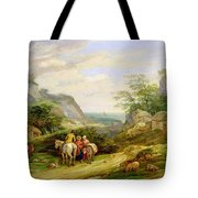 Landscape With Figures And Cattle Tote Bag by James Leakey