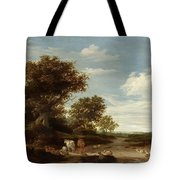 Landscape With Gracing Cows And Sheep Tote Bag