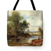 Landscape With Stream And Decorative Figures Tote Bag