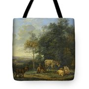 Landscape With Two Donkeys, Goats And Pigs Tote Bag
