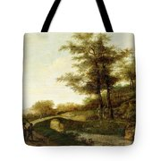 Landscape With Village Path And Men Tote Bag