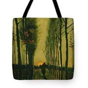 Lane Of Poplars At Sunset Tote Bag