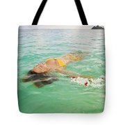 Lanikai Floating Woman Tote Bag by Tomas del Amo - Printscapes