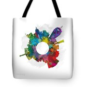 Lansing Small World Cityscape Skyline Abstract Tote Bag