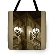 Lanterns - Night In The City - In Sepia Tote Bag