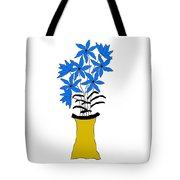 Blue Pointed Flowers Tote Bag