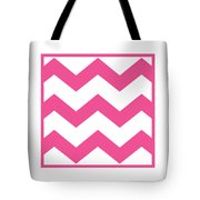Large Chevron With Border In French Pink Tote Bag