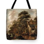 Large Farmstead On The Bank Of A River Tote Bag