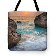Large Rocks And Wave With Sunset On Paradise Island Greece Tote Bag