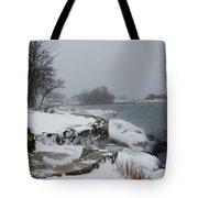 Large Stones Covered With Snow Tote Bag