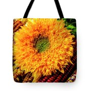 Large Sunflower On Indian Corn Tote Bag