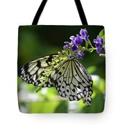 Large Tree Nymph Polinating Dainty Purple Flowers Tote Bag