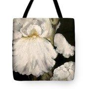 Large White Iris Tote Bag