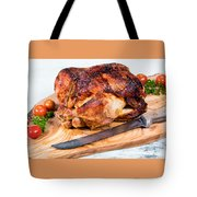 Large Whole Chicken Ready To Be Carved On Wooden Server Board  Tote Bag