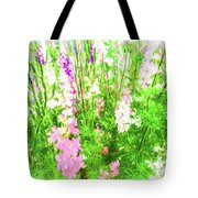Larkspur Flowers In Soft Oil Style Tote Bag