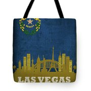 Las Vegas City Skyline State Flag Of Nevada Art Poster Series 018 Tote Bag