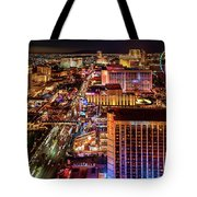 Las Vegas Strip North View Night 2 To 1 Ratio Tote Bag