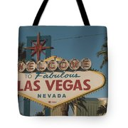 Las Vegas Welcome Sign With Vegas Strip In Background Tote Bag