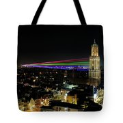 Laser Beams On The Dom Tower In Utrecht 23 Tote Bag