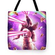 Laser Eyes Space Cat Riding Sloth, Dog - Rainbow Tote Bag