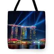 Laser Show At Mbs Singapore Tote Bag by Yew Kwang