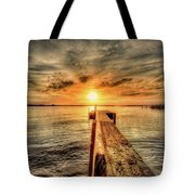 Last Call At Sunset Dock Tote Bag