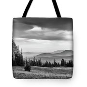 Last Light Of Day In Bw Tote Bag